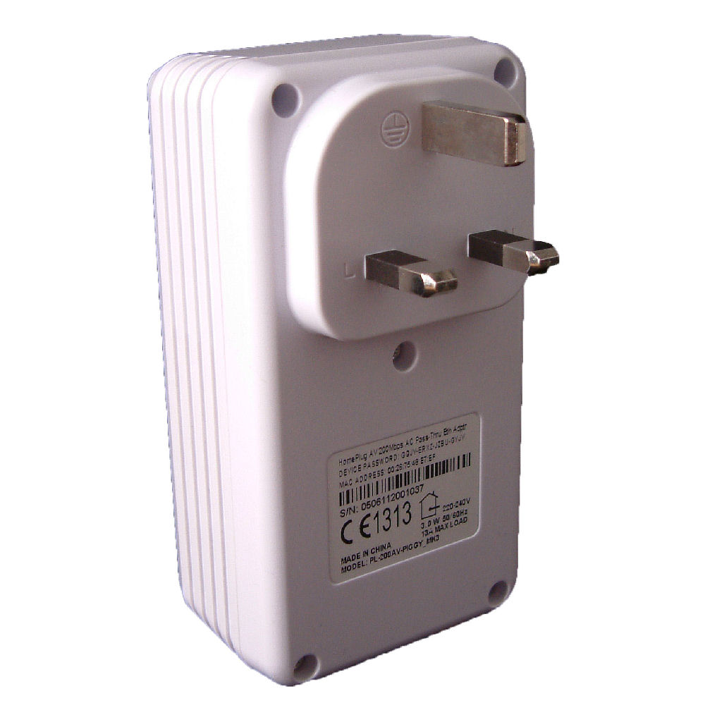 PL-200AV-PIGGY_MK3 Mains Passthrough Ethernet Homeplug