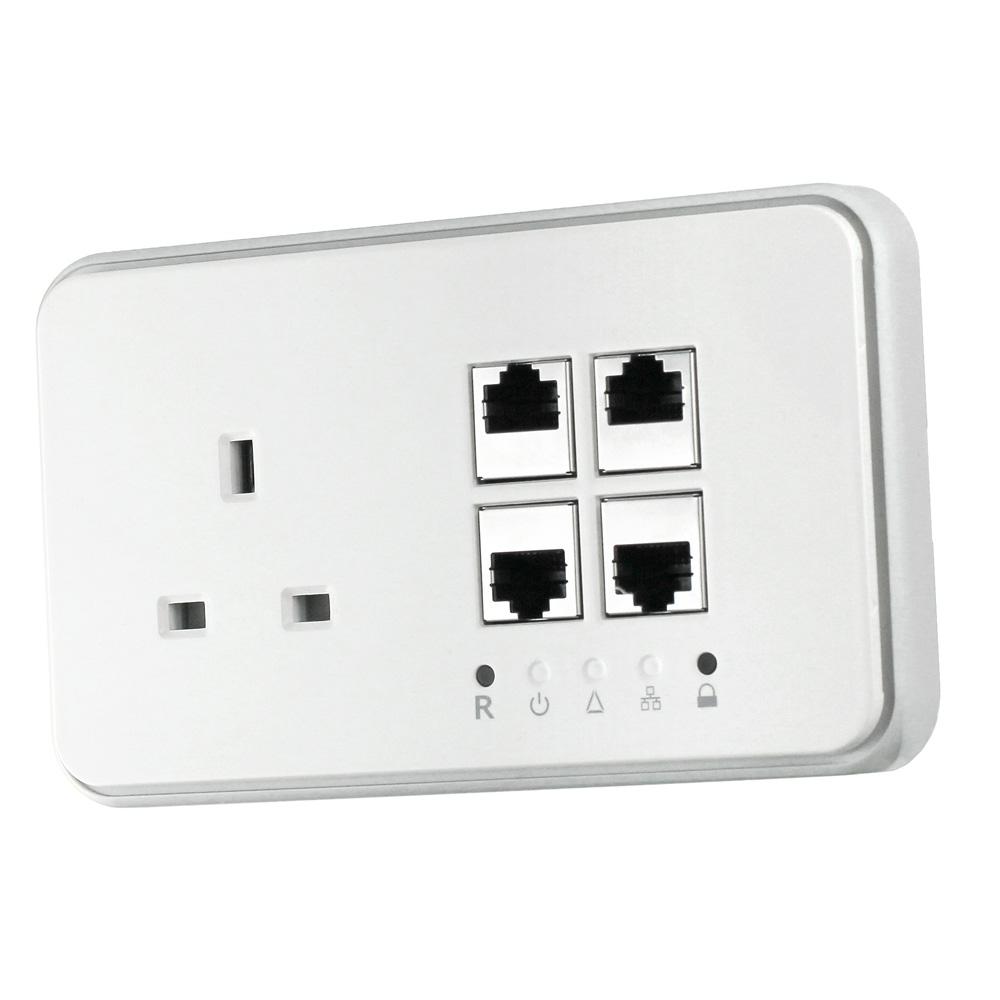 Solwise Homeplug Av Wall Plate 4 Ethernet Ports Net Pl 200av Jack Wiring Point 4port Socket